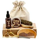 Beard Grooming Kit for Men - Beard Oil Conditioner, Balm, Brush and Comb Kit with Scissors and Bag - Care for Mens Beard and Mustache with this Facial Hair Gift Set by Bristles and Glory