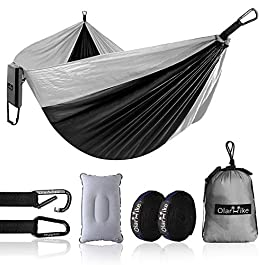 OlarHike Single Camping Hammock, Lightweight Portable Nylon Swing Hammocks with Tree Straps, 500lbs Capacity Hammock for…
