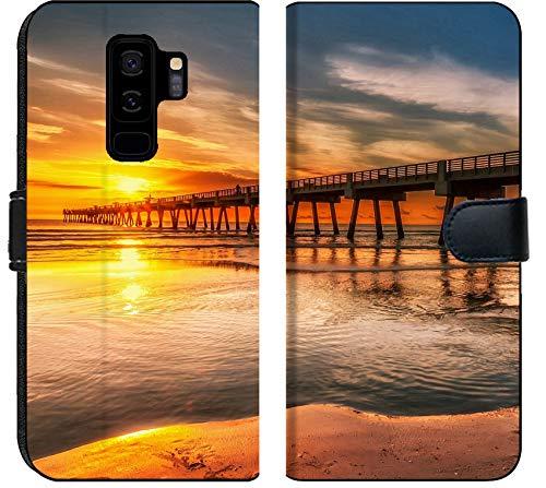 (Samsung Galaxy S9 Plus Flip Fabric Wallet Case Image of Beach sea Water Sunset pier Nature Sand Ocean Sky Orange Wave Dusk Vacation Reflection Landscape)