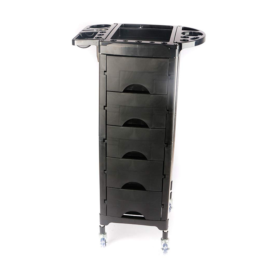 Beauty Storage Trolley Hairdresser Maintenance Carts Hairdressing Multi-Layer Drawer Tool Car Hair Salon Multi-Function Perm Hair Dyeing Equipment Cart Black