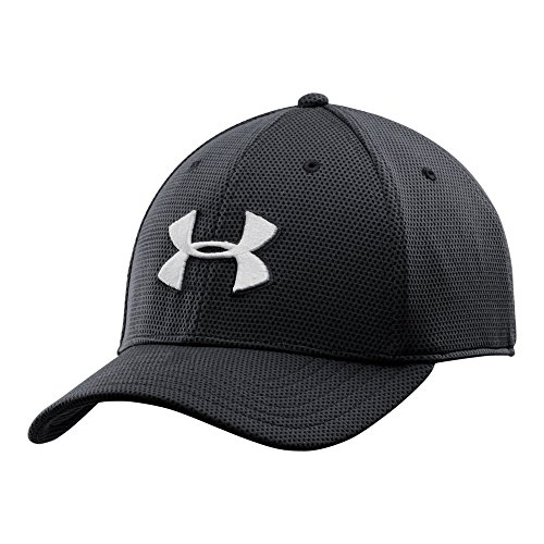 Under Armour Men's Blitzing II Stretch Fit Cap, Black/White, (Stretch Fit Golf Hat)