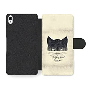 Wolf Face Snow Forest Black and White Print Wild Animal Design Funda Cuero Sintético para Sony Xperia Z3