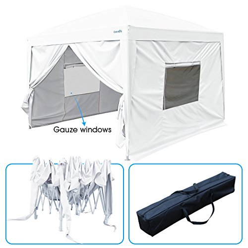 Quictent Privacy 10x10 EZ Pop Up Canopy Party Tent Folding Gazebo with Sidewalls Waterproof (White)