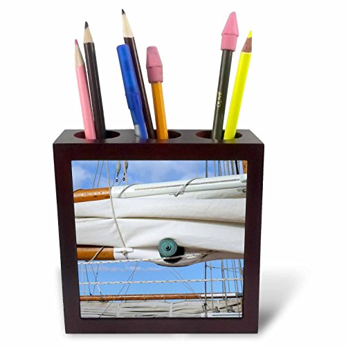 3dRose Danita Delimont - Nautical - Usa, Washington, Port Townsend, Point Hudson. Old wooden mast boom - 5 inch tile pen holder (Mast Holder)