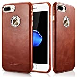 iphone 4 case jet tech - iPhone 8 Plus Case, iPhone 7 Plus Case, Icarercase Genuine Leather Vintage Classic Series Ultra-thin Slim Fit Flap Edge Protection Back Case Cover for iPhone 8 Plus/ 7 Plus (5.5