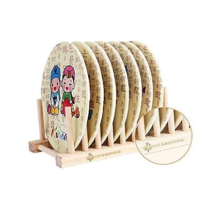 Multi Propósito Desmontable Wooden Dish Racks 8 Sub-cuadrícula Pot Clips Cuchillo Estantes Cocina Soporte