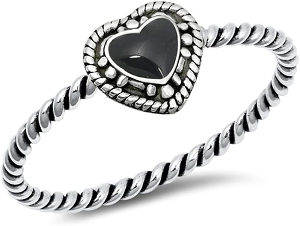 Simulated Black Onyx Fashion Rope Promise Heart Ring New .925 Sterling Silver Band Sizes 4-10