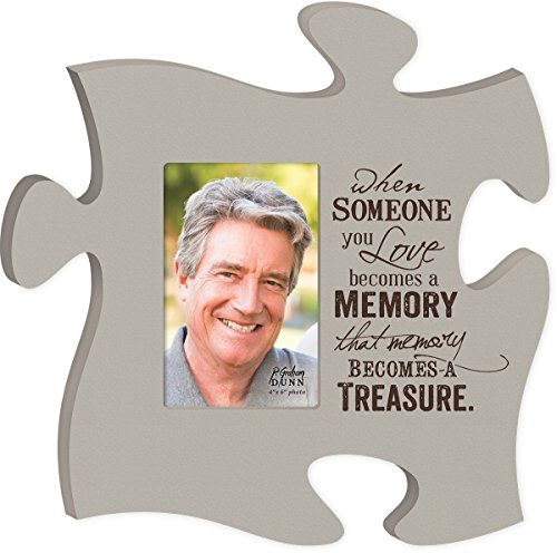 P. GRAHAM DUNN Remembrance Memory Becomes A Treasure 4x6 Photo Frame Inspirational Puzzle Piece Wall Art Plaque ()