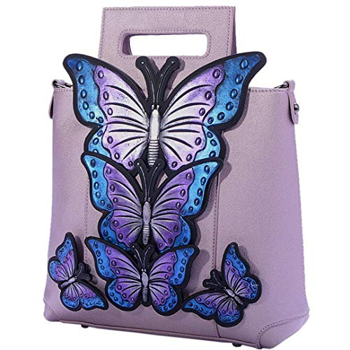 Bag Mid Women's Leather Animal Painted Shoulder New Embroidery Pink Butterfly ac8ZfOUaq0