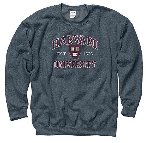 Shop College Wear Harvard University Men's Crew-Neck Sweatshirt-Charcoal