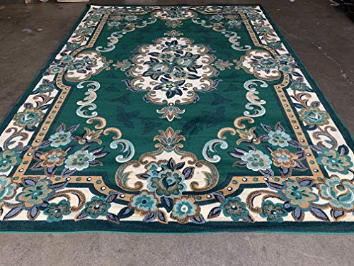 Traditional Floral Oriental Aubusson Area Rug Dark Green Teal Blue Beige Design (8 Feet X 10 Feet) (Rug Aubusson Floral)