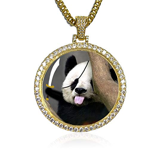 (Dream Fly Custom Photo Pendant Personalized Gifts Locket Necklace Hip Hop Jewelry,Gold or Silver+18in,20in,24in,30in for Man and Women (Gold,18))