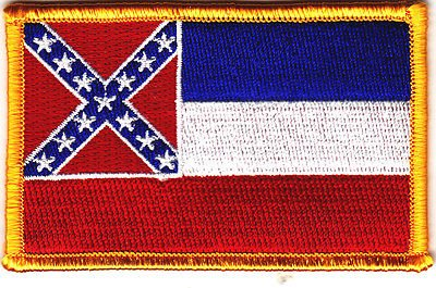MISSISSIPPI STATE FLAG w/GOLD BORDER-Iron On Embroidered Applique Patch, Symbol by Flag It   B00MZZNTII