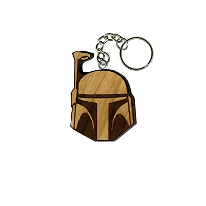 Star Wars Boba Fett Cherry Inked and Screened Laser Engraved Keychain