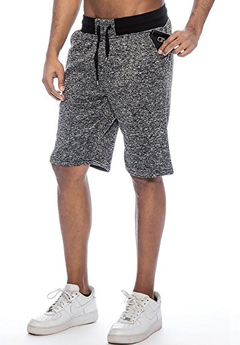True Rock Mens Jackson Marled Fleece Casual Shorts Black