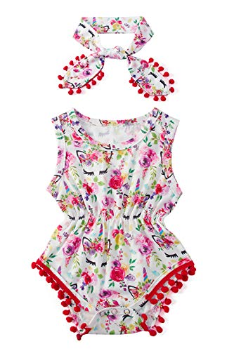 Newborn Baby Girl One Piece Rompers Floral Red Flower Eye Sleeveless Summer Casual Pompom Tassel Outfit Set Super Cut Mini Dress Suits with Beautiful Headband for Kids Birthday Party 0-3 Months ()