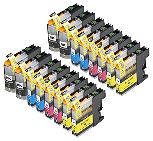 16 Pack Compatible with Brother LC101 , LC103 4 Black, 4 Cyan, 4 Magenta, 4 Yellow for use with Brother DCP-J152W, MFC-J245, MFC-J285DW, MFC-J4310DW, MFC-J4410DW, MFC-J450DW, MFC-J4510DW, MFC-J4610DW, MFC-J470DW, MFC-J4710DW, MFC-J475DW, MFC-J650DW, MFC-J