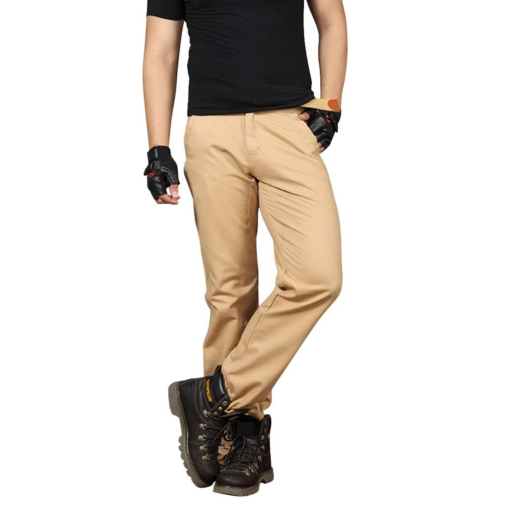 Men Pants,2019 New Casual Classic Straight Loose Relaxed Fit Outdoor Overall Pant (Size:34, Khaki)