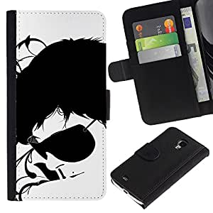 iKiki Tech / Cartera Funda Carcasa - Sunglasses Black White Art Portrait Man Face - Samsung Galaxy S4 Mini i9190 MINI VERSION!