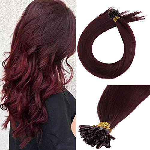 LaaVoo 18 Inch Fusion Keratin Nail Tip Real Human Hair Extensions Color #99J Deep Wine Red U Tip Brazilian Hair 50 Gram 1g/strand