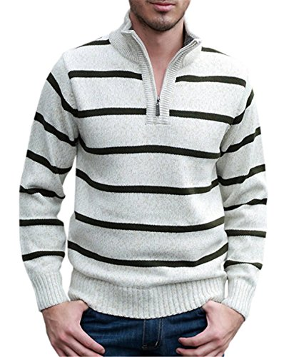 Betusline Men's Knit Sweater Quarter-Zip With Striped