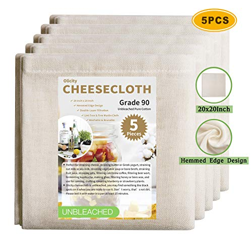 Olicity Cheesecloth, 20x20 Inch, Grade 90, 100% Unbleached Pure Cotton Muslin Cloth for Straining, Ultra Fine Reusable Hemmed Edge Cheese Cloth Fabric Strainer for Cooking, Honey Filtering (5 Pieces)