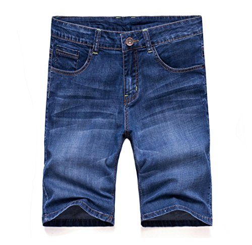 Soojun Men's 5 Pockets Stretch Comfort Denim Shorts, 2 Blue, 36 W