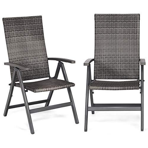 Hulaloveshop 2 PCS Rattan Folding Reclining Outdoor Wicker Portable Chairs ()