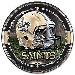 NFL New Orleans Saints Chrome Clock, 12 x 12
