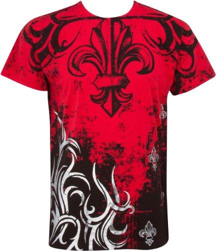 TGBranchesFleur227 (Red/Medium) Fleur de Lis/Tree Branches Metallic Silver Embossed/Crew Neck Cotton Men T-Shirt