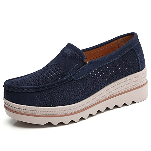 Sanyes Women Platform Slip On Loafers Comfort Suede Moccasins Wide Low Top Wedge Shoes Blue Hollow