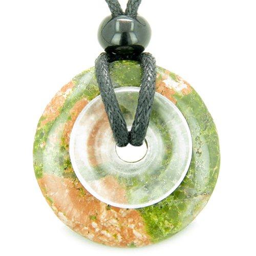 Astrological Pisces Amulet Double Lucky Donuts Unakite Rock Quartz Pendant Necklace