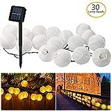 Zaeel Cadena de luces de hadas solares 30 luces de hadas blancas cálidas del LED, 6m Linternas de iluminación solares…