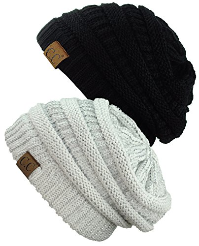 C.C Trendy Warm Chunky Soft Stretch Cable Knit Beanie Skully, 2 Pack Black/Silver