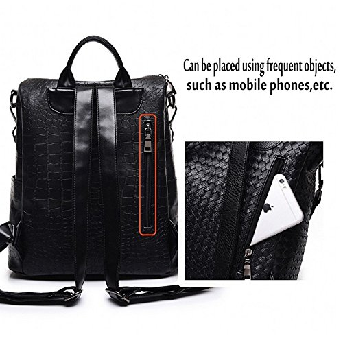 Leather Fashion Rucksack Black M014 Crocodile Bag RoseRed Travel Backpack PU M005 Bag Shoulder Pattern ww5axrZnq