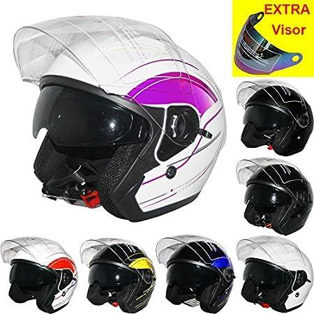 53-54cm Extra Outer Iridium Visor Leopard LEO-608 Open Face Motorbike Motorcycle Helmet Double Sun Visor Black XS