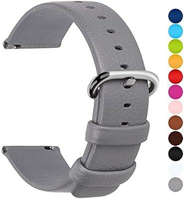 Fullmosa Uli Piel Correa Reloj, 12 Colores para Correa/Banda/Pulsera/Strap Reloj Huawei/Samsung/Recambio/Reemplazo 18mm 20mm 22mm 24mm, Gris 22mm