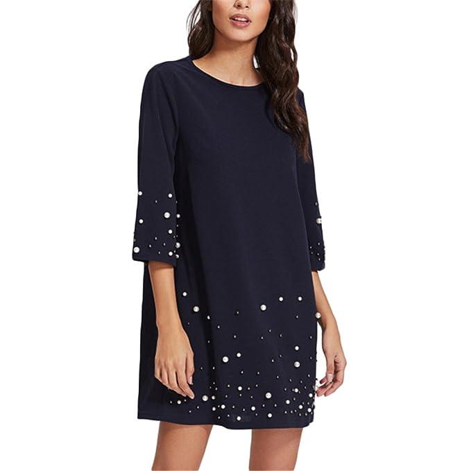 Vestido de la túnica rebordear la perla vestido recto de las mujeres de la moda vestido corto de la manga tres cuartos azul marino: Amazon.es: Ropa y ...