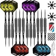 CyeeLife 22/28g Steel tip Darts,Fat Strong Aluminium shafts+Sharpener+Dart Tool+Extra Flights,for 4 Beginners