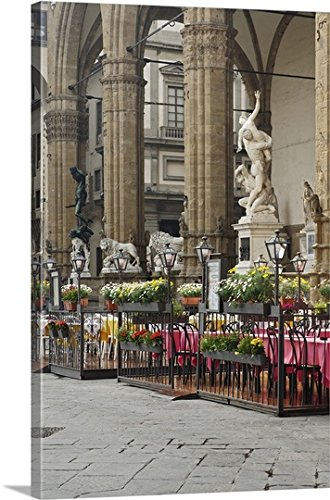 Adam Jones Gallery Wrapped Canvas - Sidewalk Cafe, Piazza della Signoria, Florence, Italy