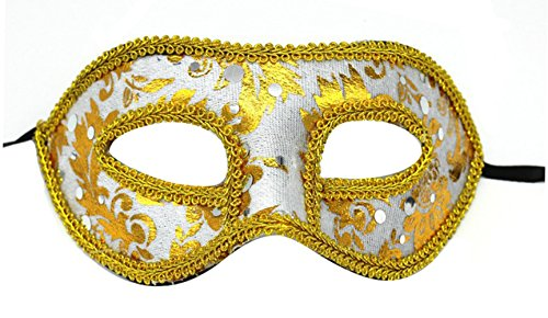 Making up Men's Masquerade Christmas Halloween Ball Party Half Face Masks (White) -