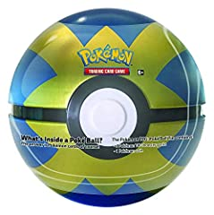 What's inside a Poke ball? Pokémon cards, of course. In this Poke ball tin you will find 3 booster packs and a Pokemon coin. This is the rare 'Quick' ball, which was only produced at 1/6 the ratio as the regular pokeball!!