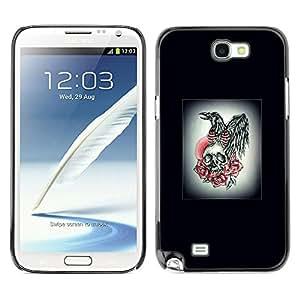 Shell-Star Art & Design plastique dur Coque de protection rigide pour Cas Case pour SAMSUNG Galaxy Note 2 II / N7100 ( Wings Skull Rose White Black Poster )