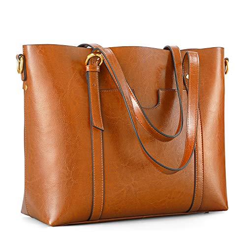 Kattee Vintage Cowhide Leather Tote Crossbody Shoulder Bag for Women