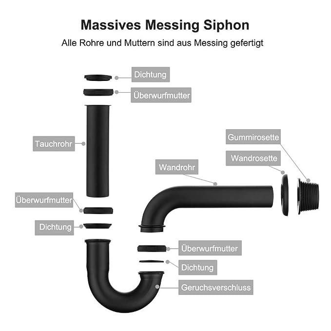 desag/üe sif/ón tubular Keymark universal 1 1//4 x 32 mm cierre de olor Negro Sif/ón de lat/ón para lavabo y lavabo