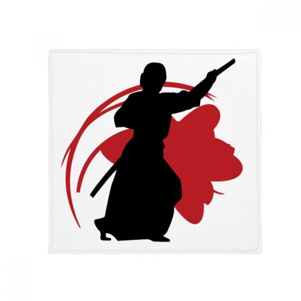 DIYthinker Japan Asia Samurai Katana Sakura Parry Silhouette Anti-Slip Floor Pet Mat Square Home Kitchen Door 80Cm Gift