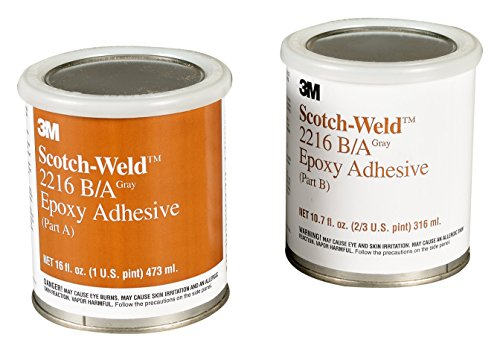 3M Scotch-Weld 20356 Epoxy Adhesive 2216 Part B/A, Gray, 1 Quart Kit
