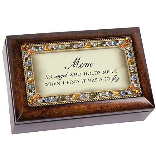 Angel Musical Jewelry Box - Cottage Garden Mom an Angel Holds Me Up Amber Earth Tone Jewelry Music Box Plays Wind Beneath My Wings