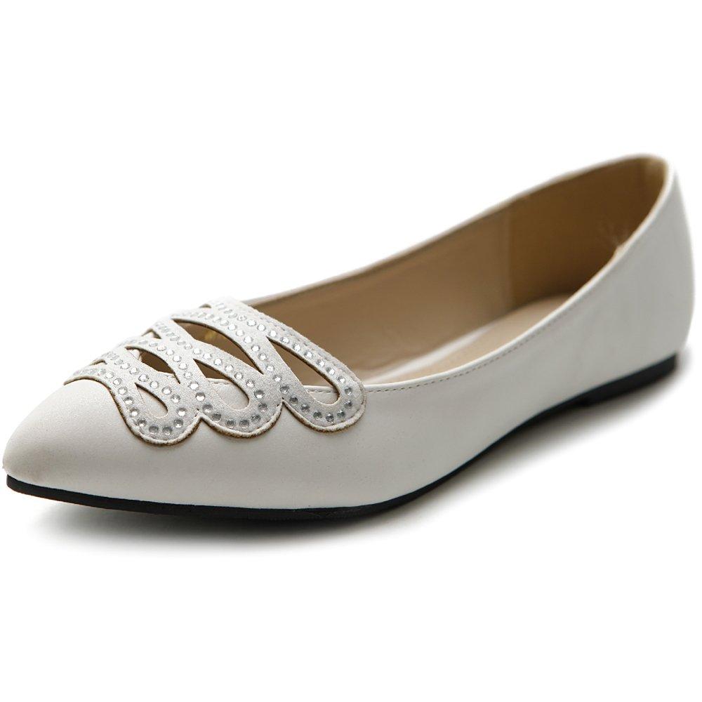 Ollio Women's Shoe Ballet Infinity Rhinestone Pointed Toe Flat B07BBXDCLV 8 B(M) US|White