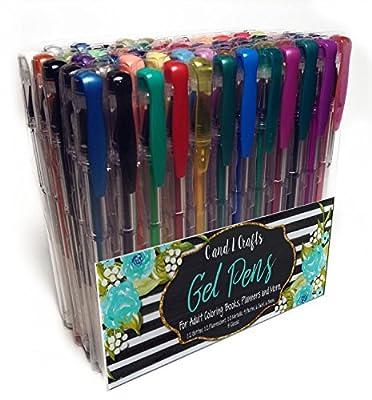 Gel Pen Set 60 Markers for Adult Coloring Books Homeschooling Supply for Kids Bonus 5 Page Ebook